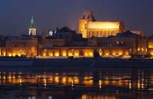 An image of the city of Toruń on the banks of Vistula River